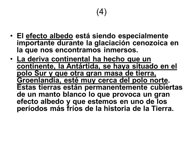 (4)El efecto albedo está siendo especialmente importante durante la glaciación cenozoica en la que nos encontramos inmersos.