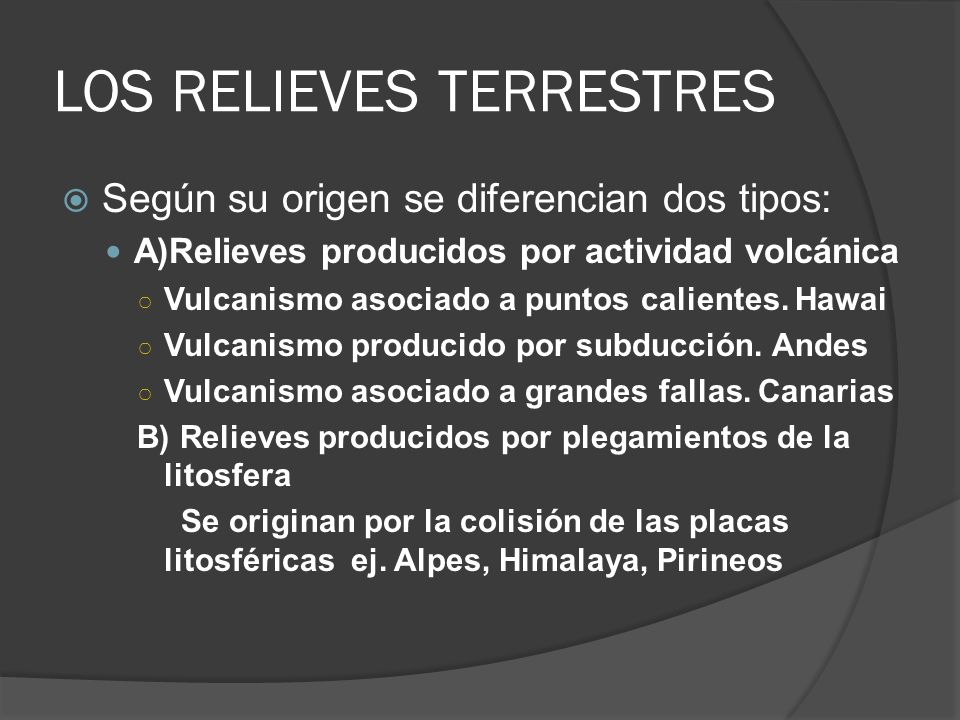 Los relieves terrestres