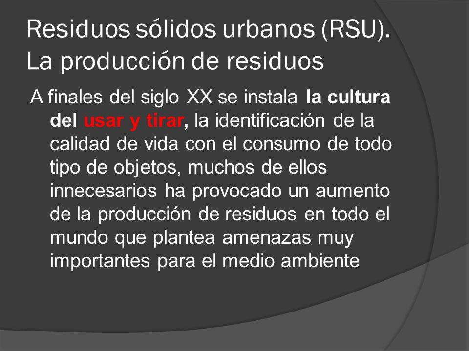 Residuos sólidos urbanos (RSU). La producción de residuos