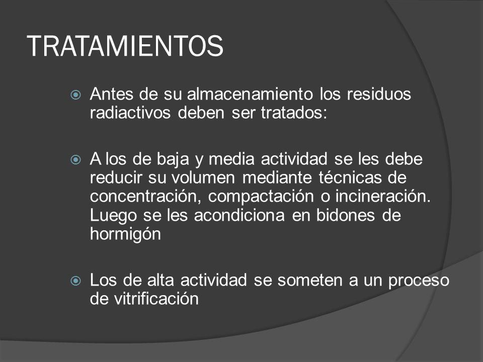 TRATAMIENTOSAntes de su almacenamiento los residuos radiactivos deben ser tratados: