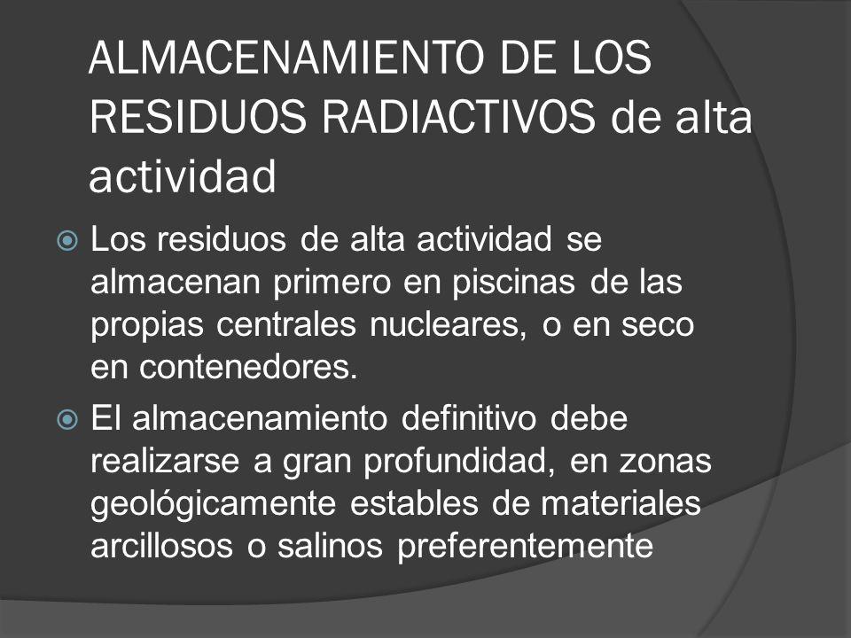 ALMACENAMIENTO DE LOS RESIDUOS RADIACTIVOS de alta actividad