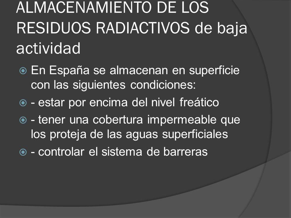 ALMACENAMIENTO DE LOS RESIDUOS RADIACTIVOS de baja actividad