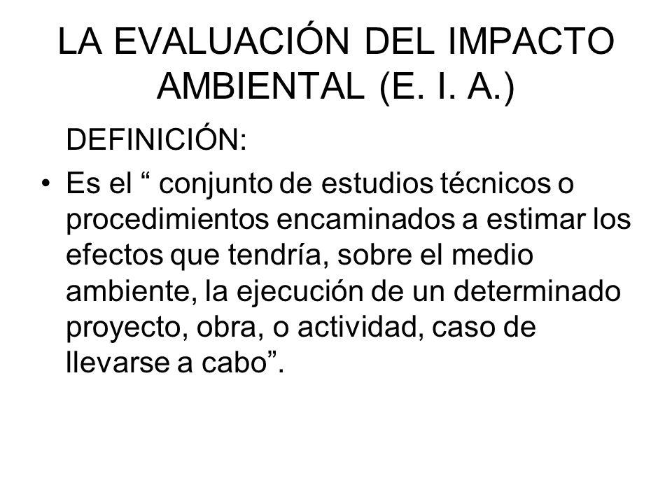 LA EVALUACIÓN DEL IMPACTO AMBIENTAL (E. I. A.)