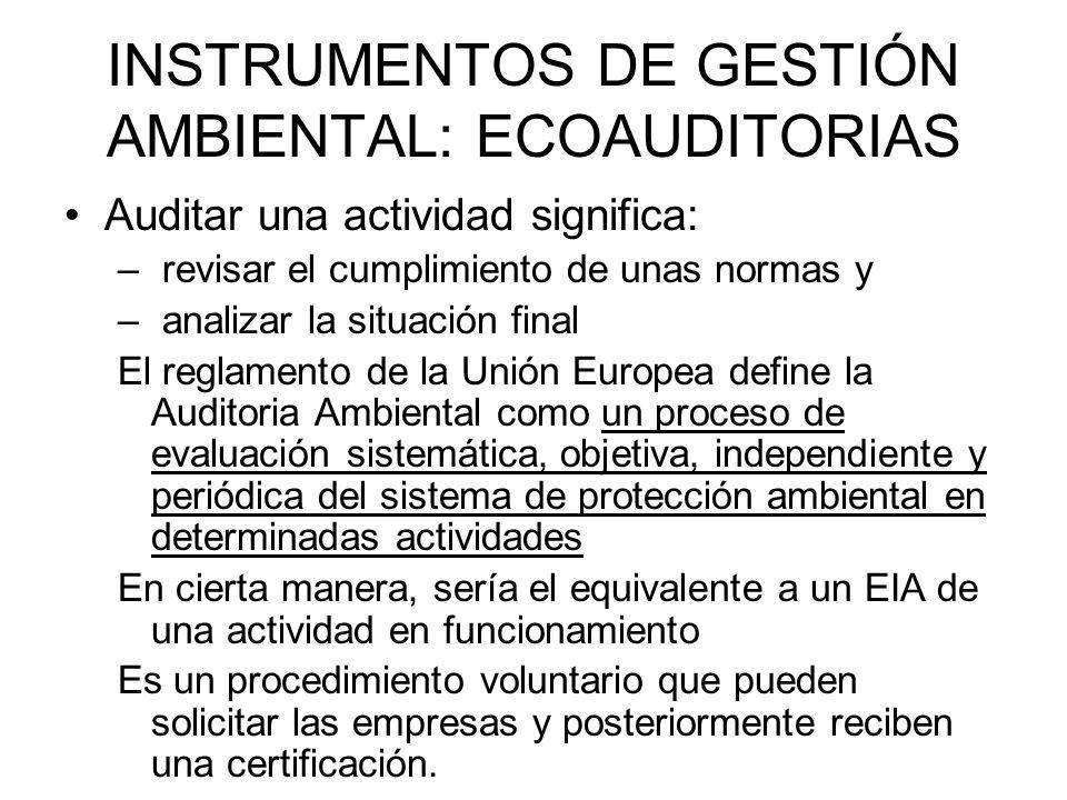 INSTRUMENTOS DE GESTIÓN AMBIENTAL: ECOAUDITORIAS