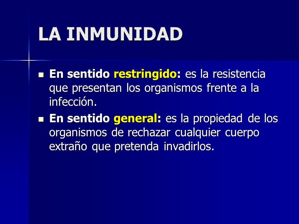 LA INMUNIDADEn sentido restringido: es la resistencia que presentan los organismos frente a la infección.