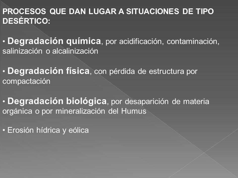 PROCESOS QUE DAN LUGAR A SITUACIONES DE TIPO DESÉRTICO: