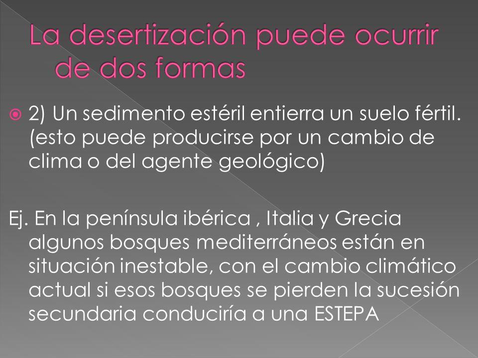 La desertización puede ocurrir de dos formas