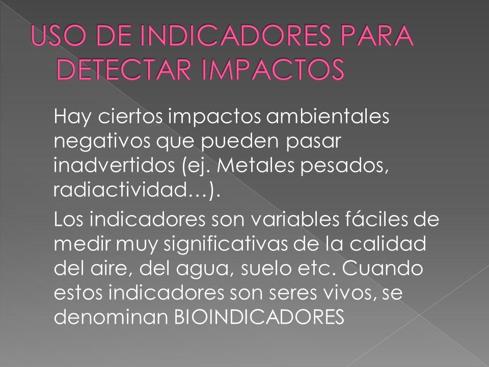 USO DE INDICADORES PARA DETECTAR IMPACTOS