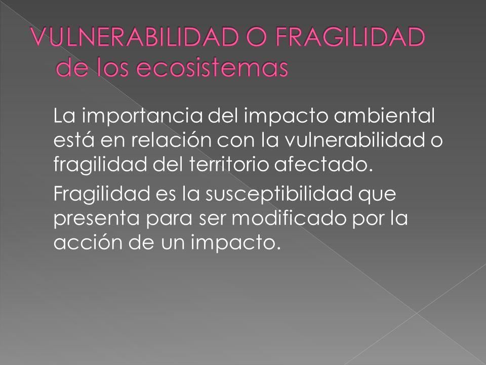 VULNERABILIDAD O FRAGILIDAD de los ecosistemas