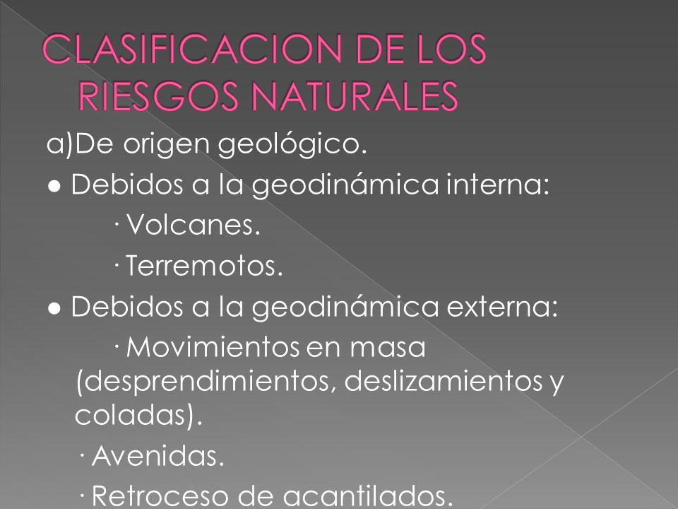 CLASIFICACION DE LOS RIESGOS NATURALES