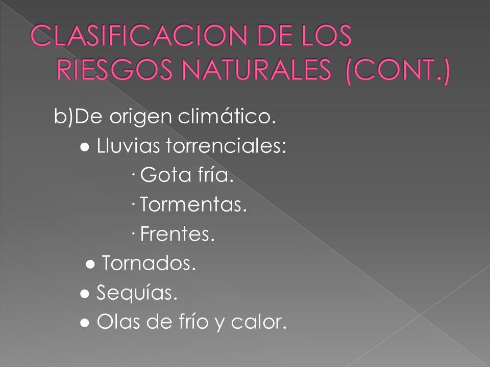 CLASIFICACION DE LOS RIESGOS NATURALES (CONT.)