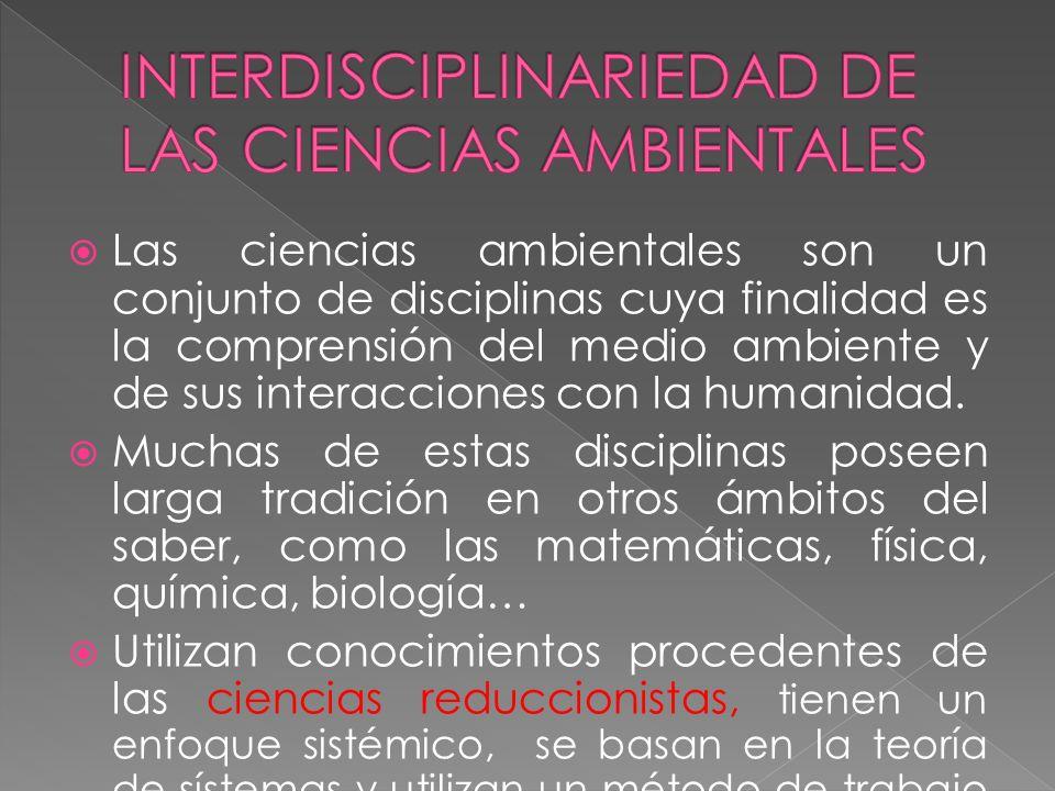 INTERDISCIPLINARIEDAD DE LAS CIENCIAS AMBIENTALES