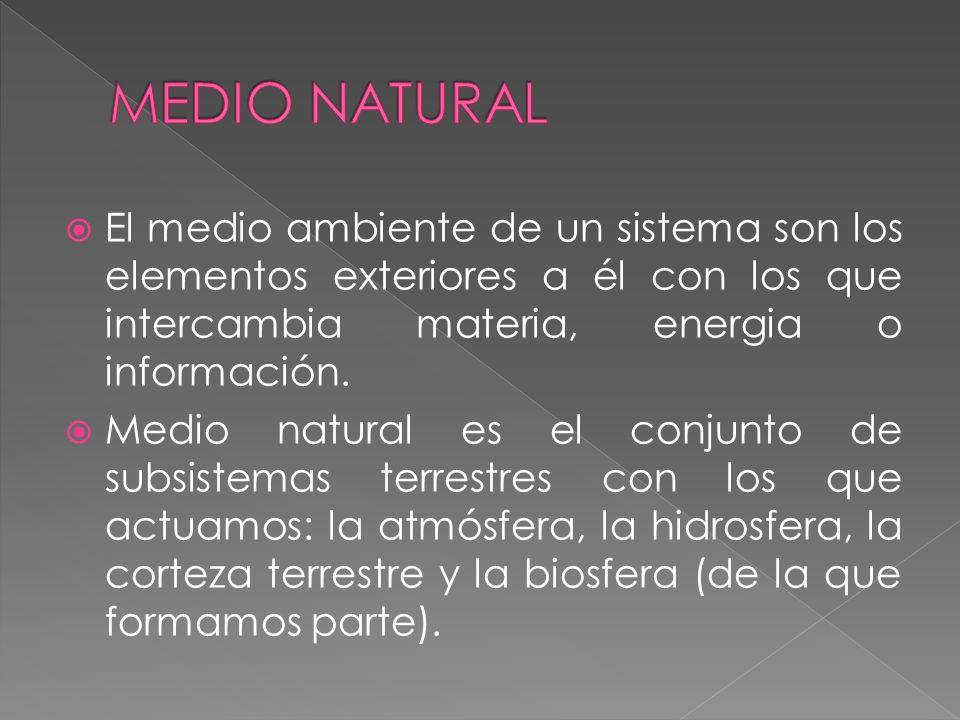 MEDIO NATURAL El medio ambiente de un sistema son los elementos exteriores a él con los que intercambia materia, energia o información.