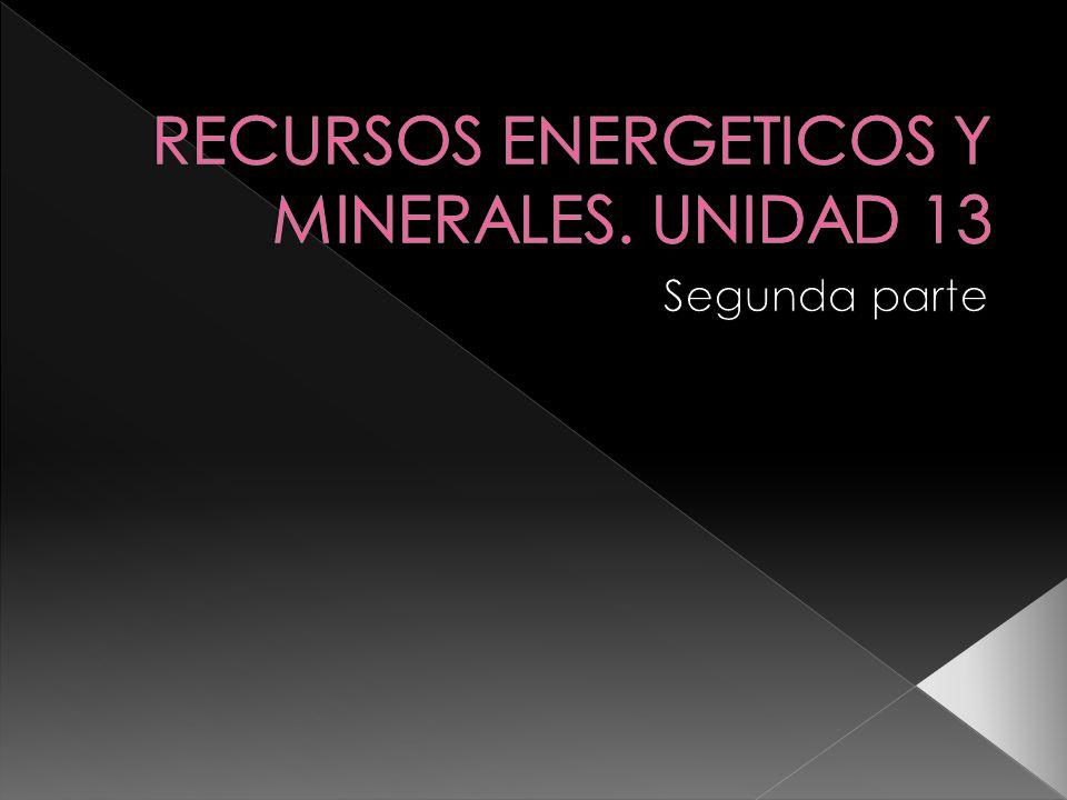 RECURSOS ENERGETICOS Y MINERALES. UNIDAD 13