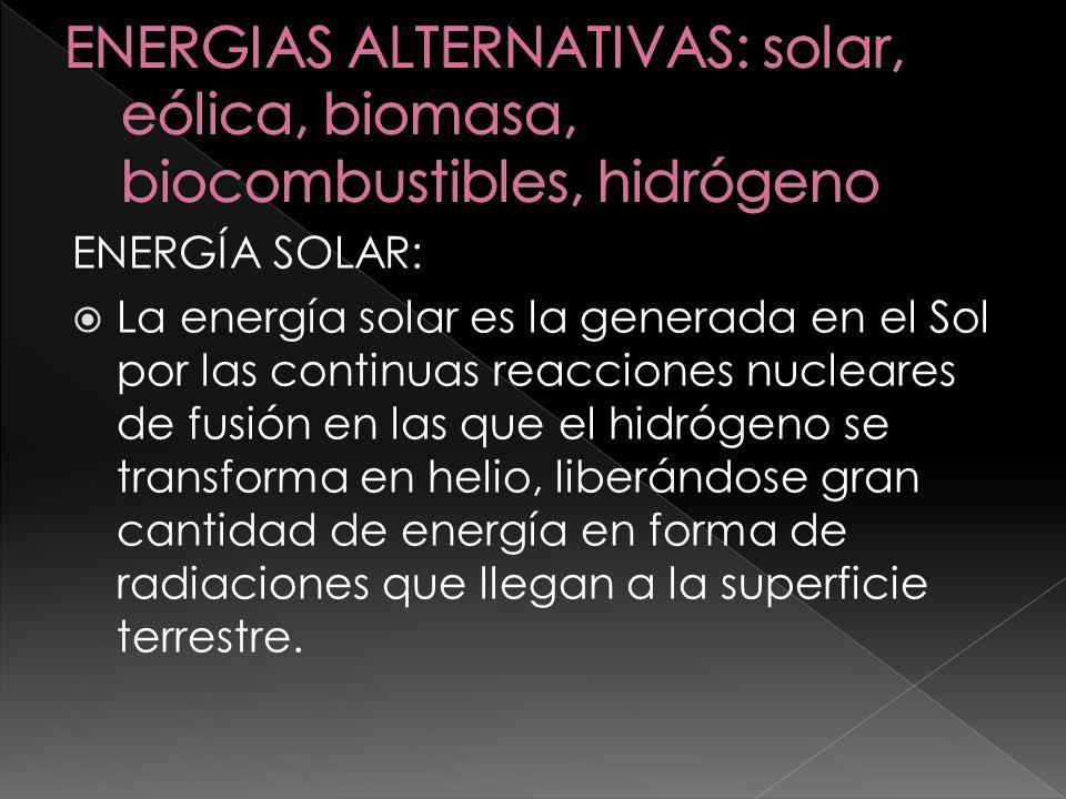 ENERGIAS ALTERNATIVAS: solar, eólica, biomasa, biocombustibles, hidrógeno
