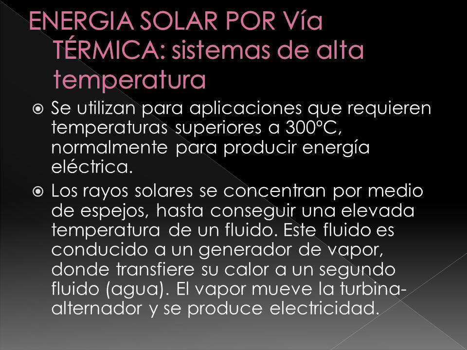 ENERGIA SOLAR POR Vía TÉRMICA: sistemas de alta temperatura