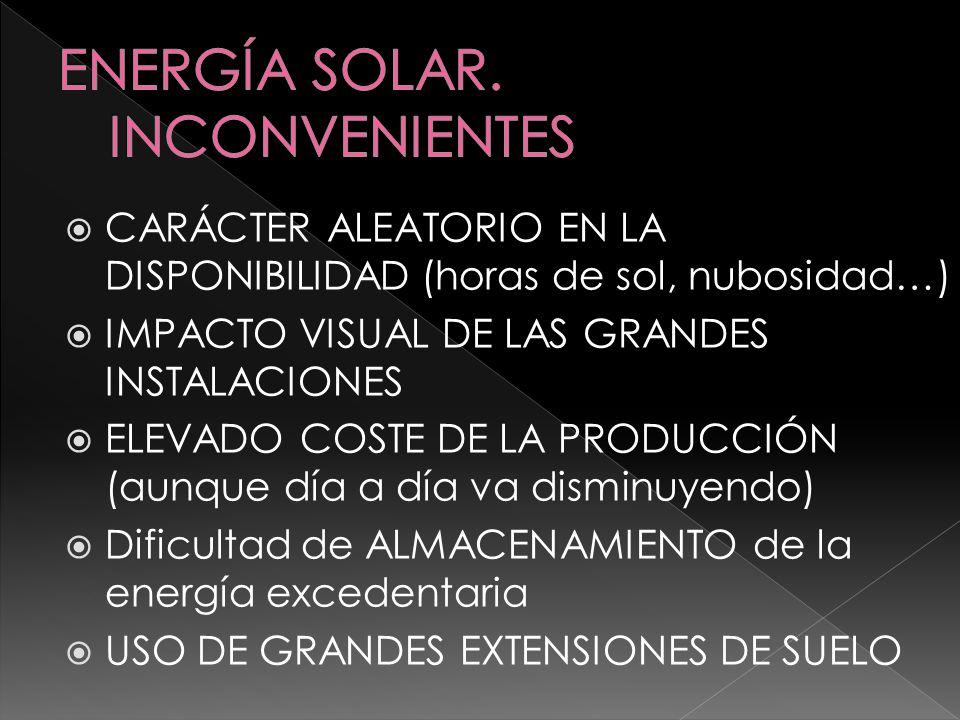 ENERGÍA SOLAR. INCONVENIENTES