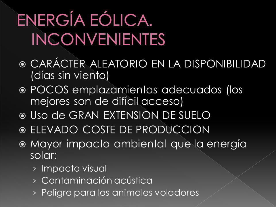 ENERGÍA EÓLICA. INCONVENIENTES