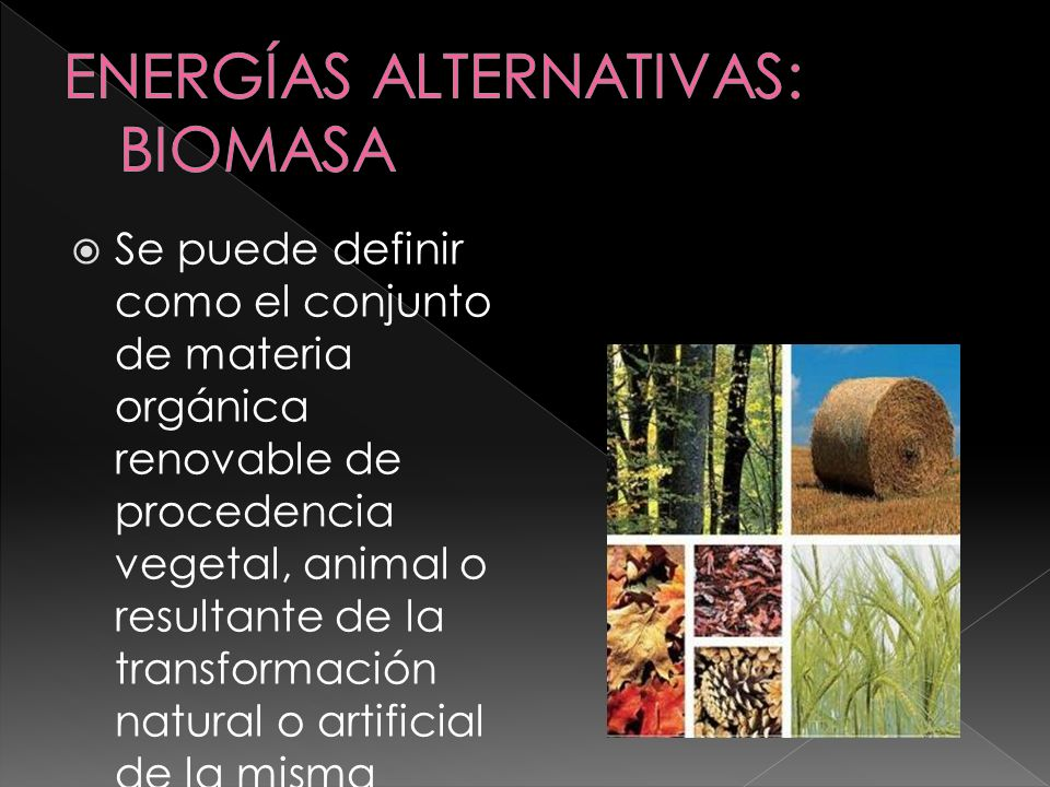 ENERGÍAS ALTERNATIVAS: BIOMASA
