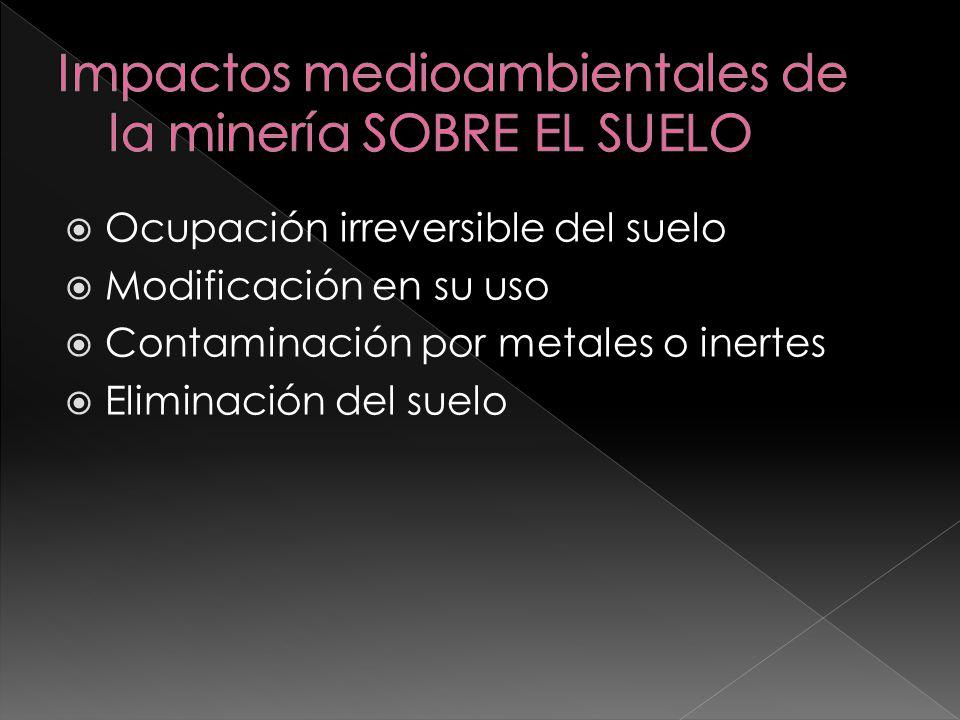 Impactos medioambientales de la minería SOBRE EL SUELO