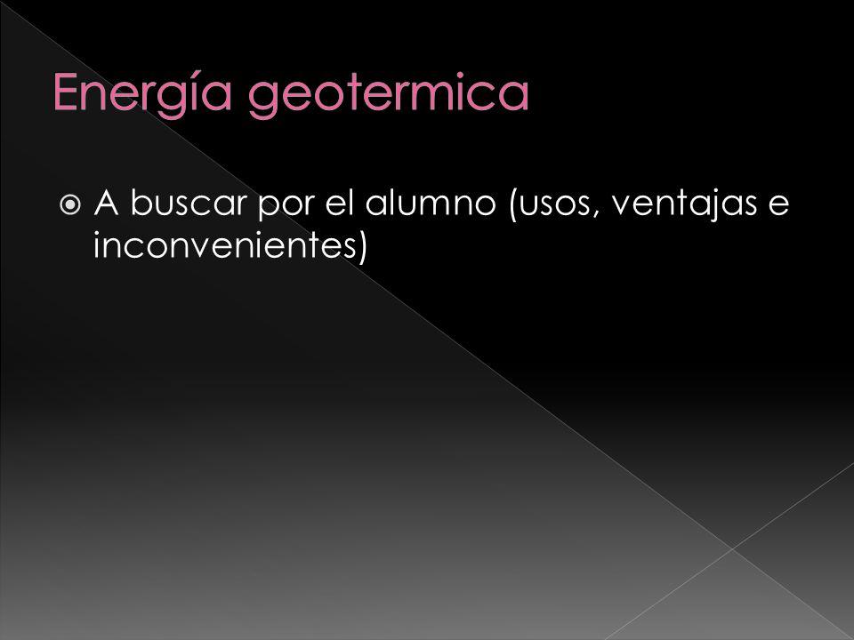 Energía geotermica A buscar por el alumno (usos, ventajas e inconvenientes)