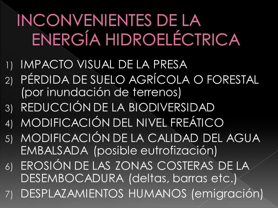 INCONVENIENTES DE LA ENERGÍA HIDROELÉCTRICA