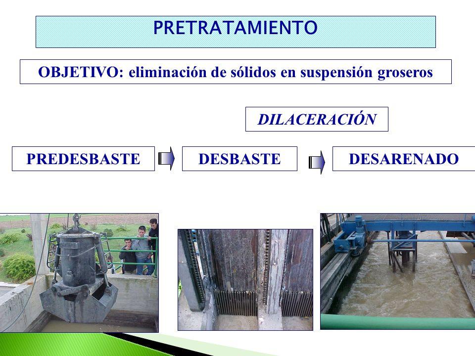 OBJETIVO: eliminación de sólidos en suspensión groseros