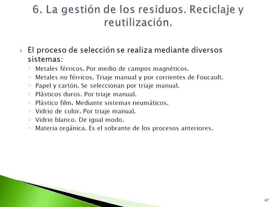 6. La gestión de los residuos. Reciclaje y reutilización.