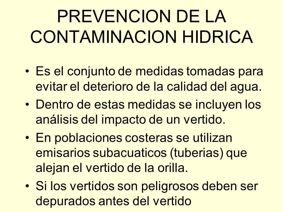 PREVENCION DE LA CONTAMINACION HIDRICA