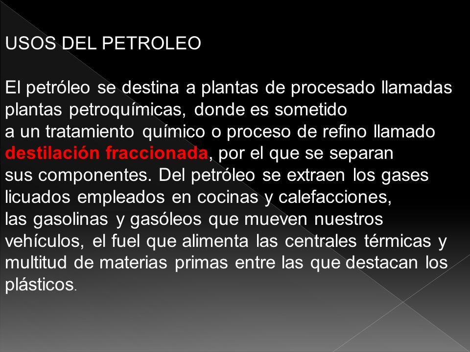 USOS DEL PETROLEOEl petróleo se destina a plantas de procesado llamadas plantas petroquímicas, donde es sometido.