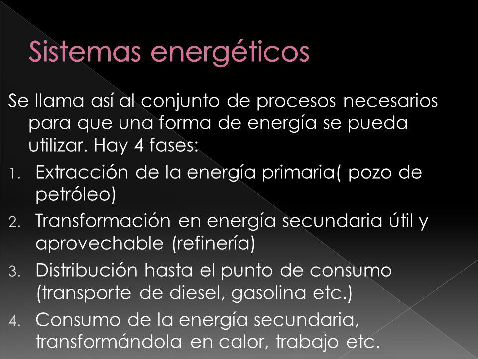 Sistemas energéticos Se llama así al conjunto de procesos necesarios para que una forma de energía se pueda utilizar. Hay 4 fases: