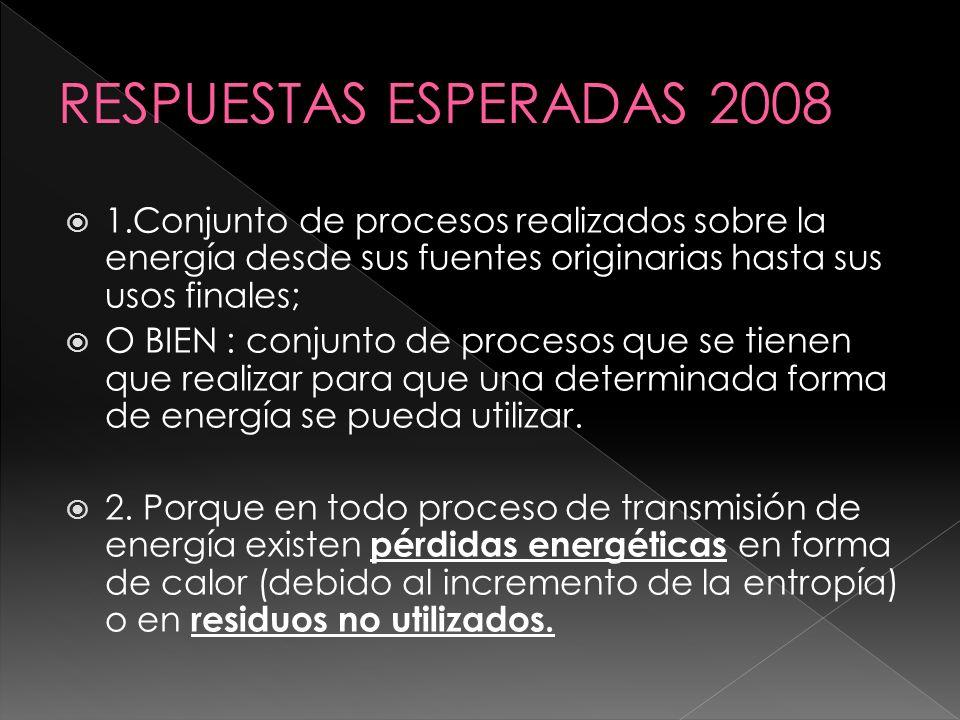 RESPUESTAS ESPERADAS 2008 1.Conjunto de procesos realizados sobre la energía desde sus fuentes originarias hasta sus usos finales;