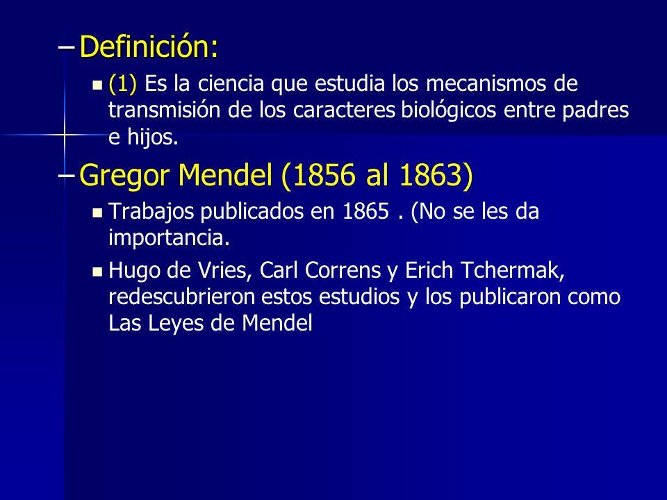 Definición: Gregor Mendel (1856 al 1863)
