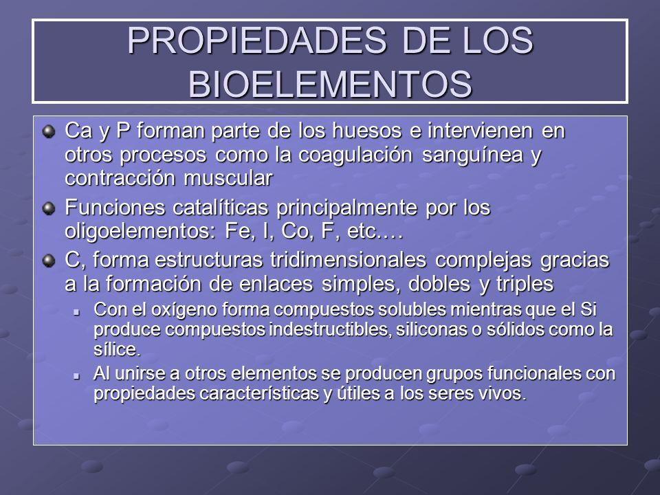 PROPIEDADES DE LOS BIOELEMENTOS