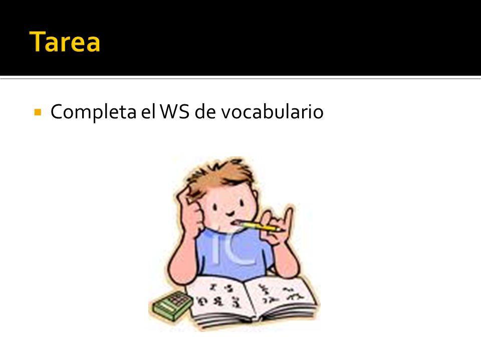 Tarea Completa el WS de vocabulario