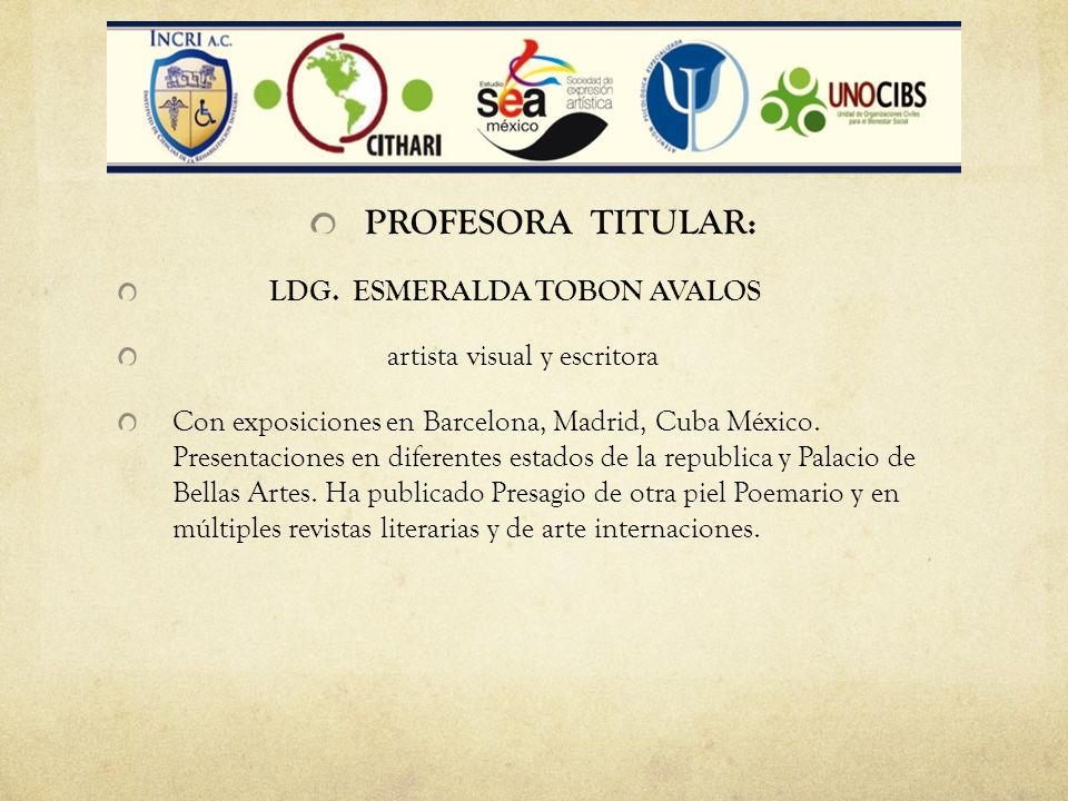 PROFESORA TITULAR: LDG. ESMERALDA TOBON AVALOS