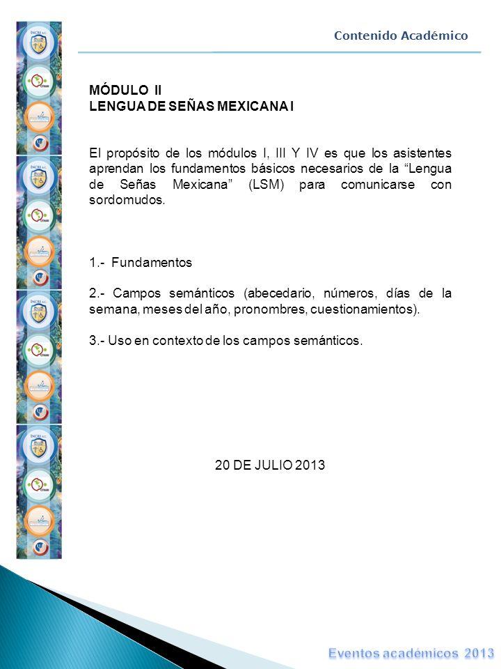 MÓDULO II LENGUA DE SEÑAS MEXICANA I
