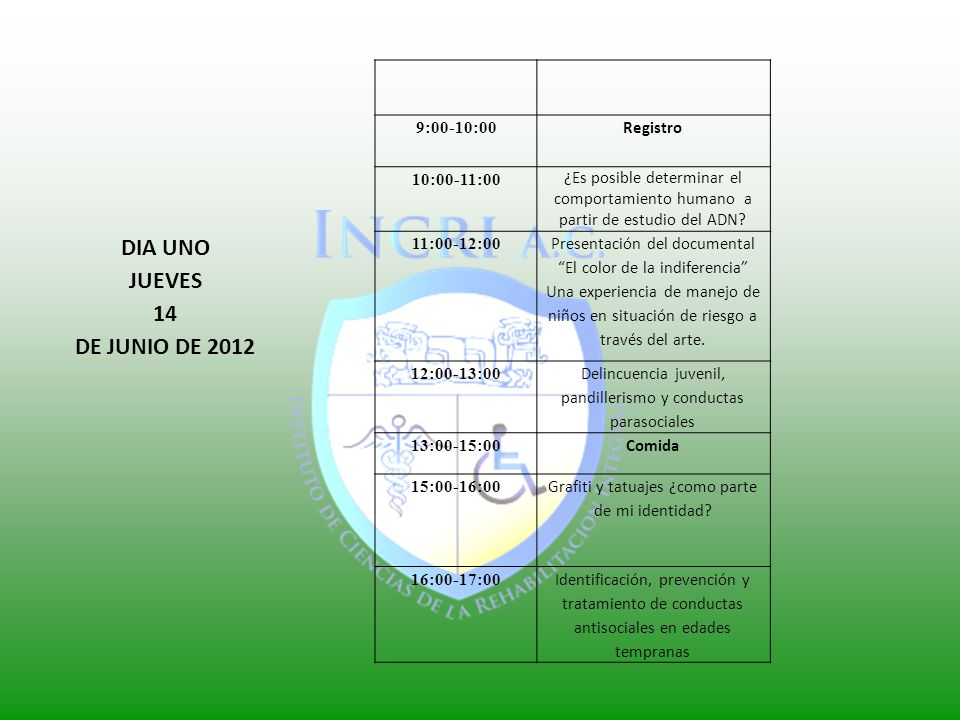DIA UNO JUEVES 14 DE JUNIO DE 2012 9:00-10:00 Registro 10:00-11:00