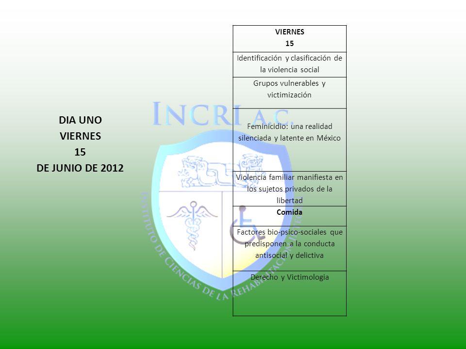 DIA UNO VIERNES 15 DE JUNIO DE 2012