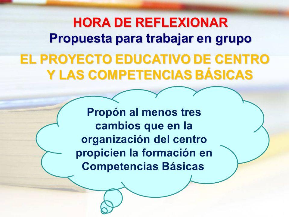 HORA DE REFLEXIONAR Propuesta para trabajar en grupo