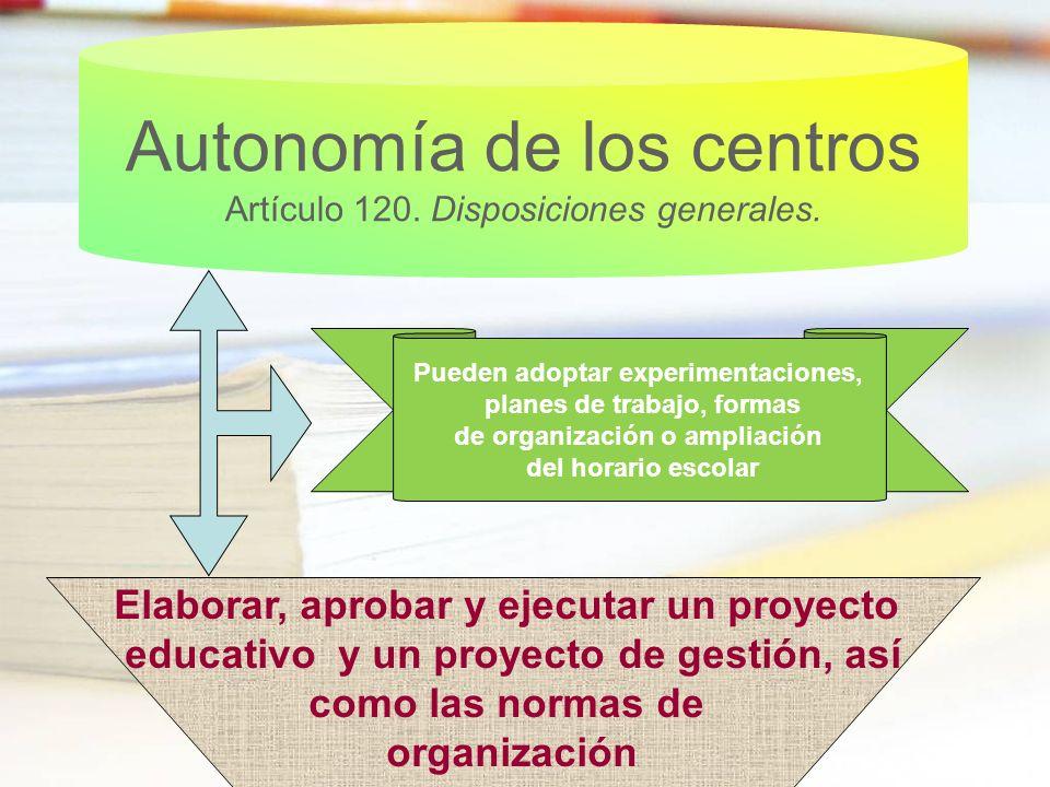 Autonomía de los centros Artículo 120. Disposiciones generales.