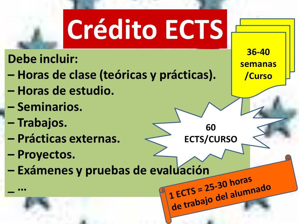 Crédito ECTS Debe incluir: – Horas de clase (teóricas y prácticas).