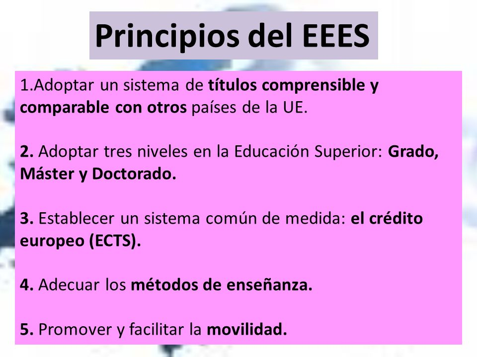 Principios del EEES 1.Adoptar un sistema de títulos comprensible y