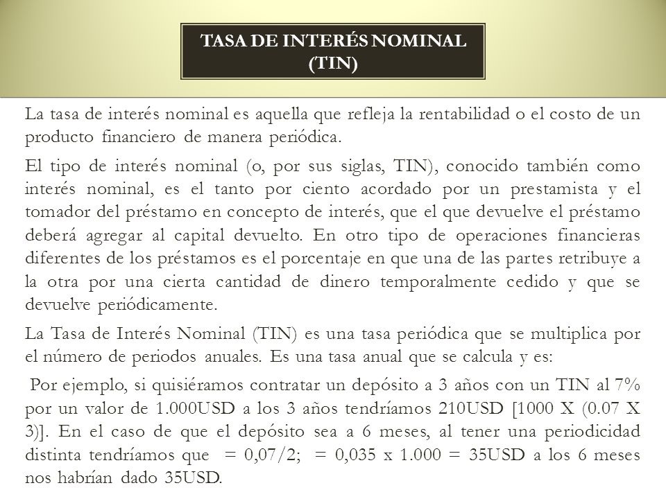 Tasa de interés nominal (tin)