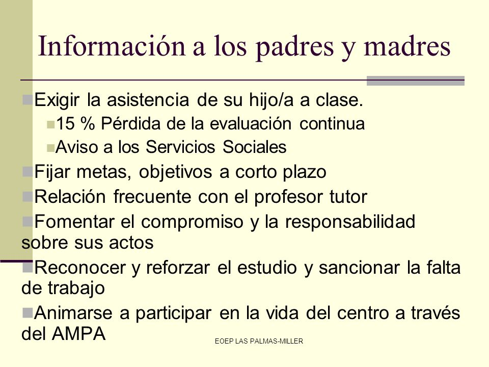 Información a los padres y madres