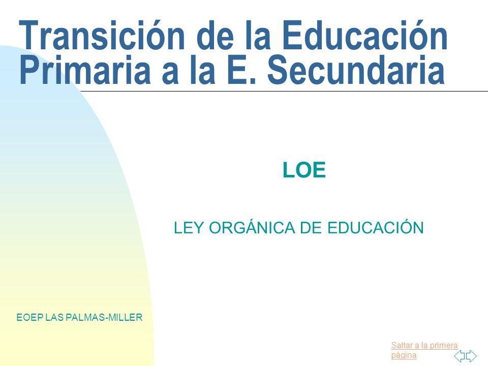 Transición de la Educación Primaria a la E. Secundaria