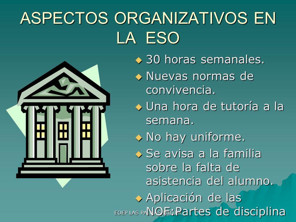ASPECTOS ORGANIZATIVOS EN LA ESO