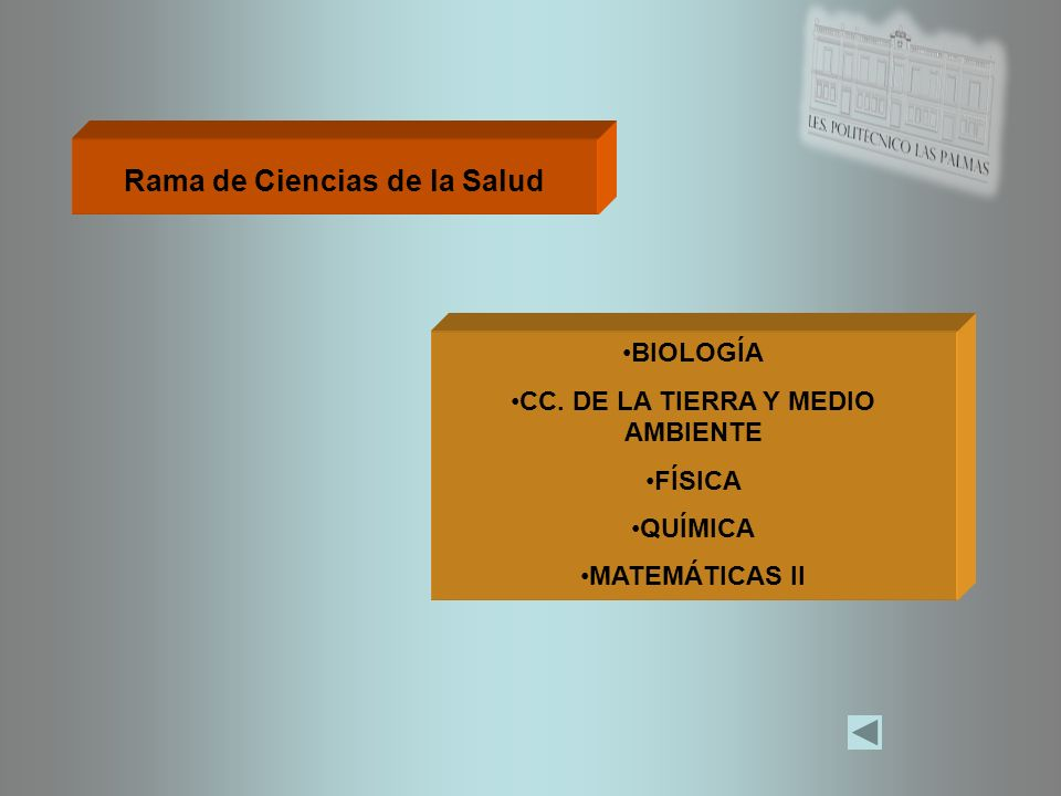 Rama de Ciencias de la Salud CC. DE LA TIERRA Y MEDIO AMBIENTE
