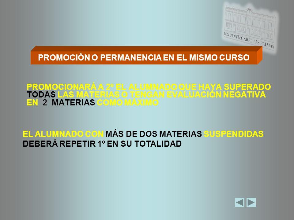 PROMOCIÓN O PERMANENCIA EN EL MISMO CURSO
