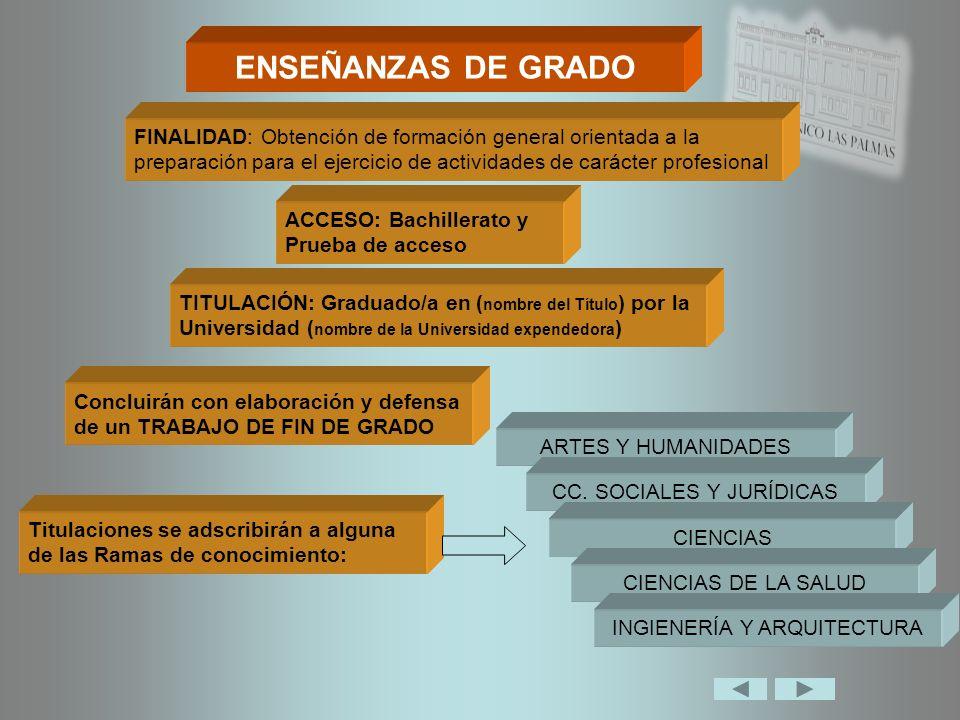 ENSEÑANZAS DE GRADO FINALIDAD: Obtención de formación general orientada a la preparación para el ejercicio de actividades de carácter profesional.